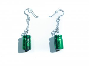 Green Capacitor Necklace and Earrings