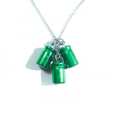 Green Triple Capacitor Necklace