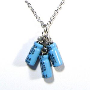 Teal Triple Capacitor Necklace
